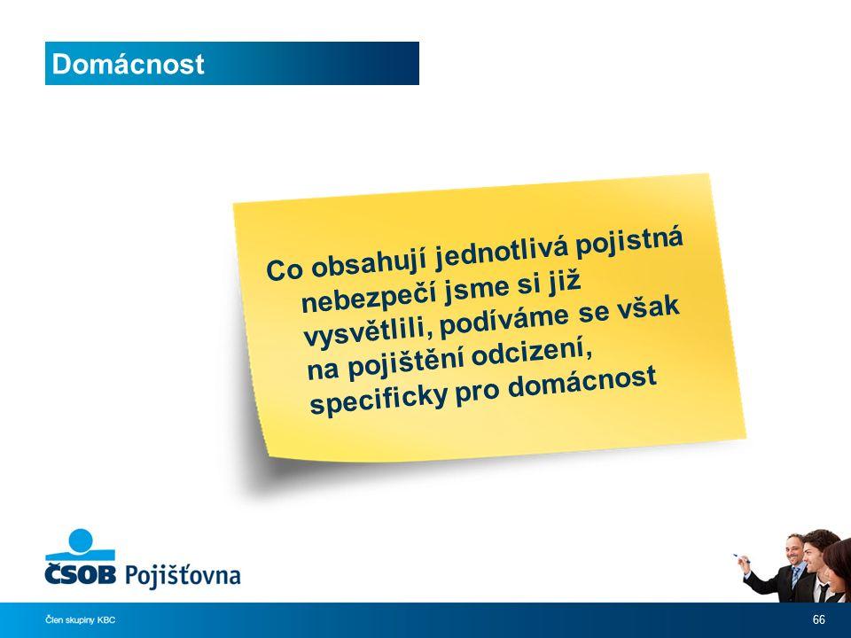 Domácnost 66 Co obsahují jednotlivá pojistná nebezpečí jsme si již vysvětlili, podíváme se však na pojištění odcizení, specificky pro domácnost