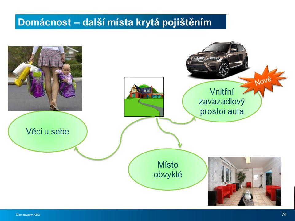 Domácnost – další místa krytá pojištěním 74 Vnitřní zavazadlový prostor auta Místo obvyklé Věci u sebe Nové