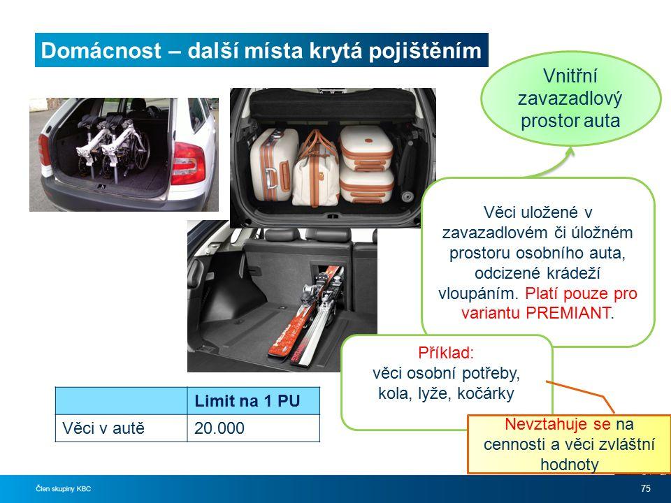 Domácnost – další místa krytá pojištěním 75 Vnitřní zavazadlový prostor auta Věci uložené v zavazadlovém či úložném prostoru osobního auta, odcizené krádeží vloupáním.