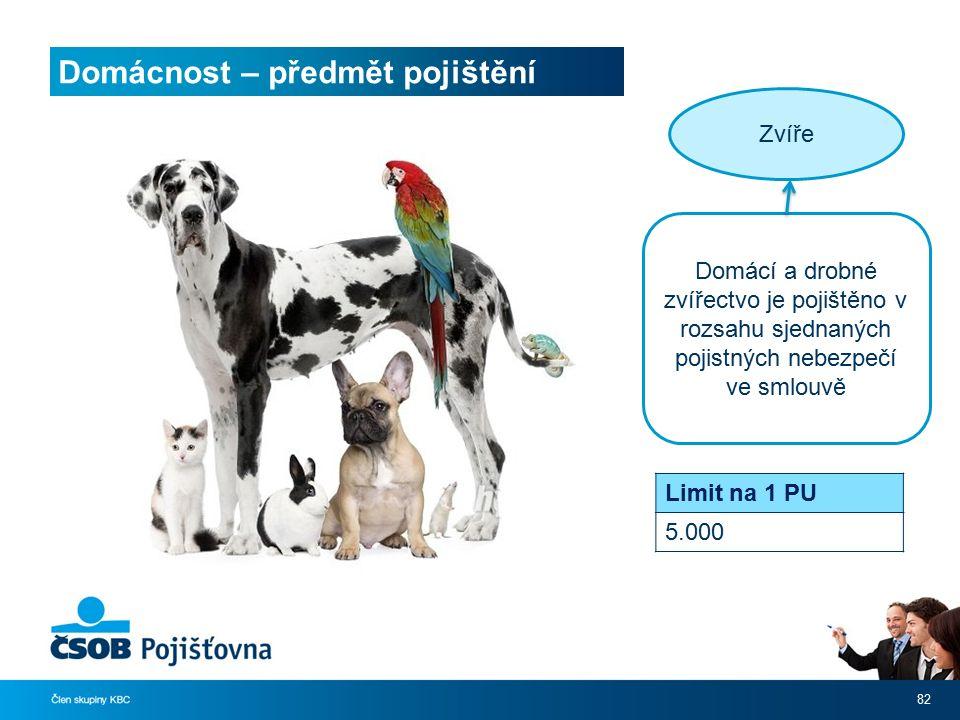 Domácnost – předmět pojištění 82 Zvíře Domácí a drobné zvířectvo je pojištěno v rozsahu sjednaných pojistných nebezpečí ve smlouvě Limit na 1 PU 5.000