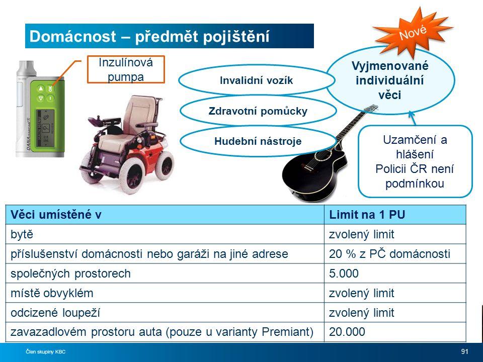 Domácnost – předmět pojištění 91 Vyjmenované individuální věci Nové Uzamčení a hlášení Policii ČR není podmínkou Invalidní vozík Zdravotní pomůcky Hud