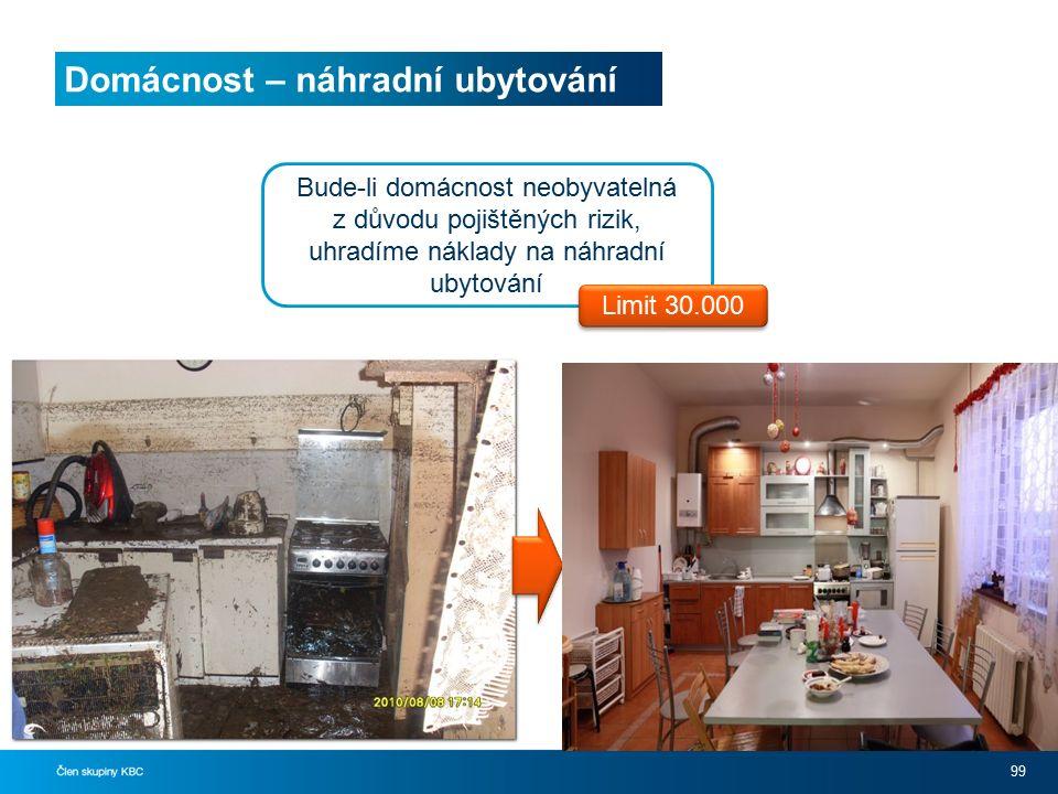 Domácnost – náhradní ubytování 99 Bude-li domácnost neobyvatelná z důvodu pojištěných rizik, uhradíme náklady na náhradní ubytování Limit 30.000