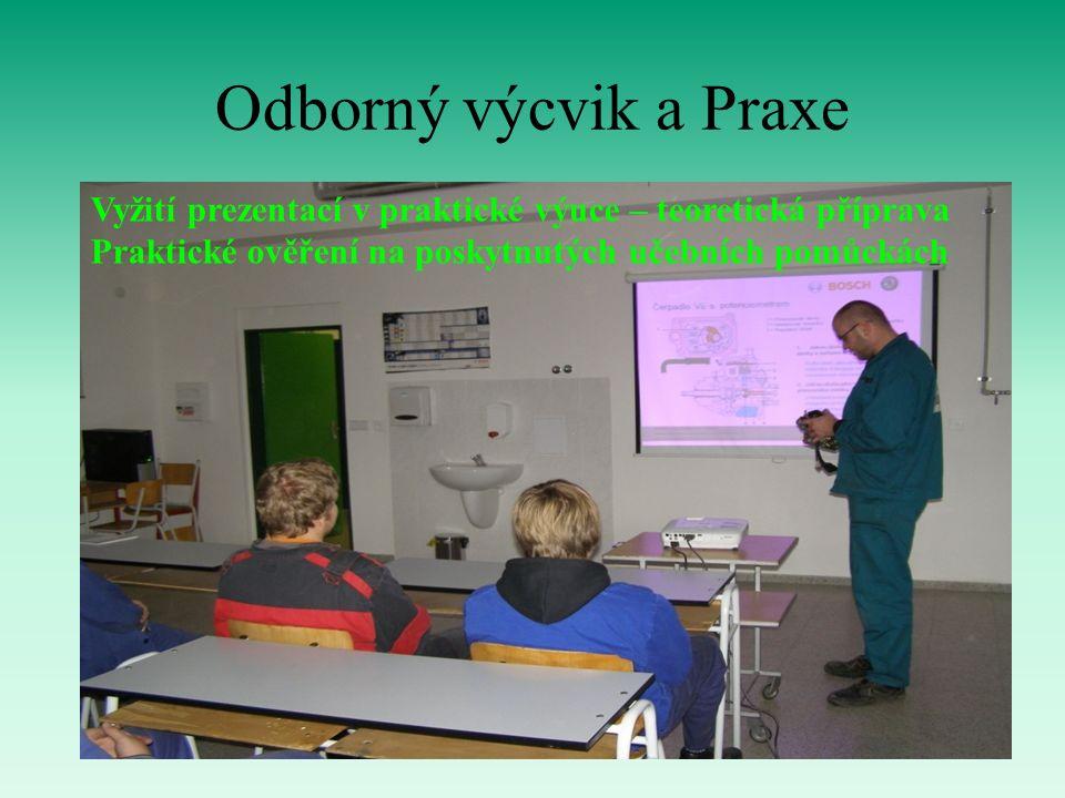 Odborný výcvik a Praxe Vyžití prezentací v praktické výuce – teoretická příprava Praktické ověření na poskytnutých učebních pomůckách