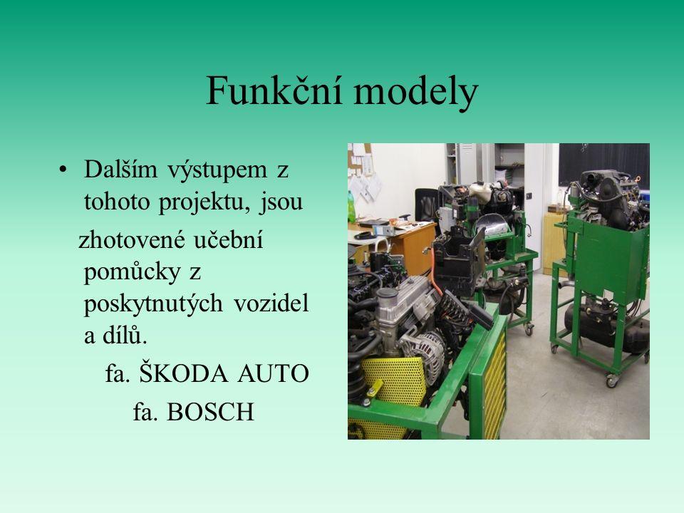 Funkční modely Dalším výstupem z tohoto projektu, jsou zhotovené učební pomůcky z poskytnutých vozidel a dílů.