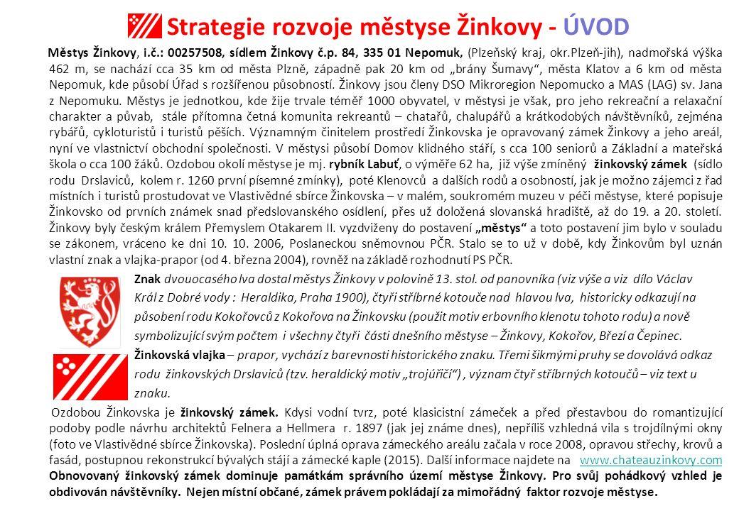Strategie rozvoje městyse Žinkovy Zámek Žinkovy – významný bod rozvoje městyse Žinkovy a Žinkovska GPS: 49°28 42.82 N, 13°30 9.93 E (zámek) 49°29'0.254 N,13°29'21.999 E (městys)