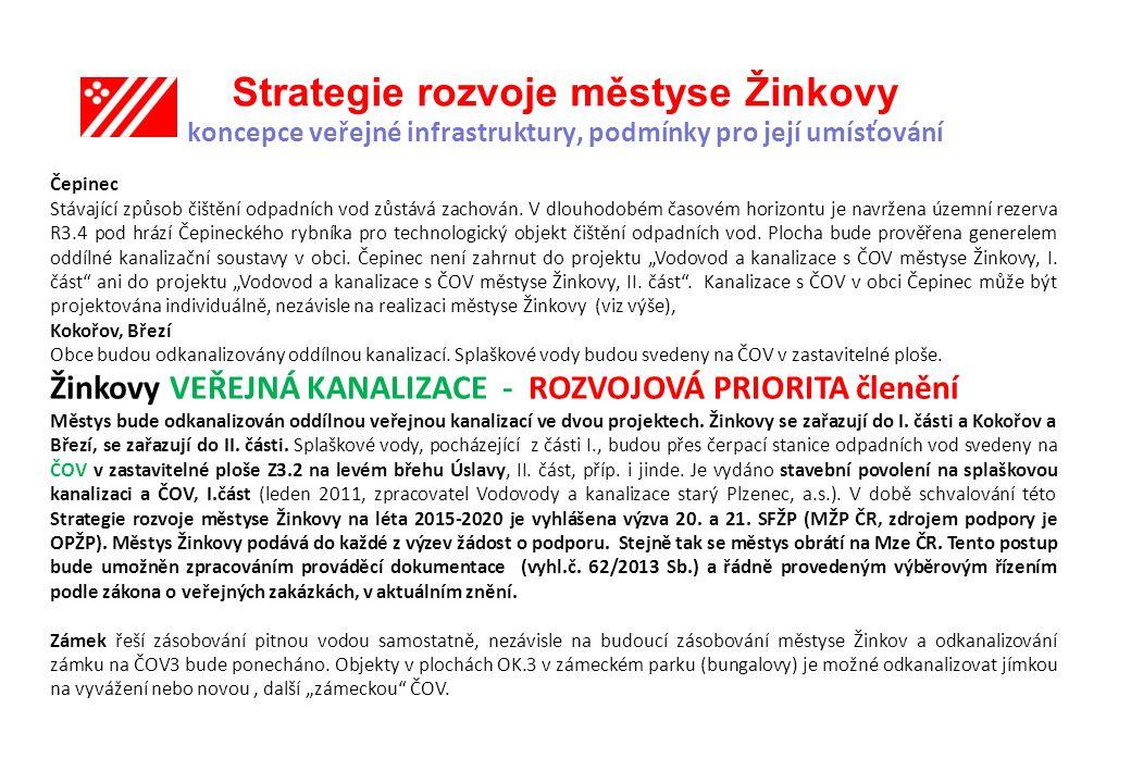 Strategie rozvoje městyse Žinkovy koncepce veřejné infrastruktury, podmínky pro její umísťování Čepinec Stávající způsob čištění odpadních vod zůstává zachován.