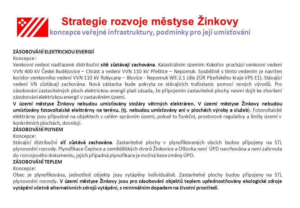Strategie rozvoje městyse Žinkovy koncepce veřejné infrastruktury, podmínky pro její umísťování ZÁSOBOVÁNÍ ELEKTRICKOU ENERGIÍ Koncepce : Venkovní vedení nadřazené distribuční sítě zůstávají zachována.