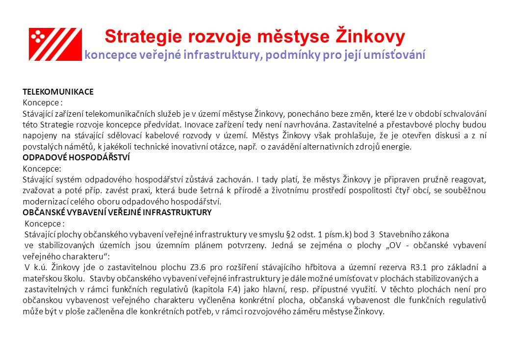 Strategie rozvoje městyse Žinkovy koncepce veřejné infrastruktury, podmínky pro její umísťování TELEKOMUNIKACE Koncepce : Stávající zařízení telekomunikačních služeb je v území městyse Žinkovy, ponecháno beze změn, které lze v období schvalování této Strategie rozvoje koncepce předvídat.