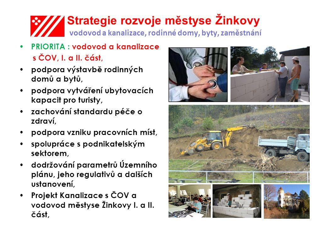 Strategie rozvoje městyse Žinkovy vodovod a kanalizace, rodinné domy, byty, zaměstnání PRIORITA : vodovod a kanalizace s ČOV, I.