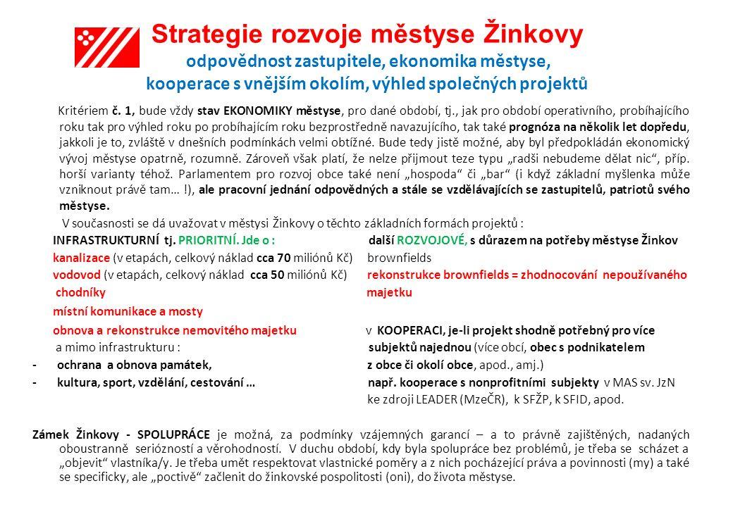 Strategie rozvoje městyse Žinkovy odpovědnost zastupitele, ekonomika městyse, kooperace s vnějším okolím, výhled společných projektů Kritériem č.