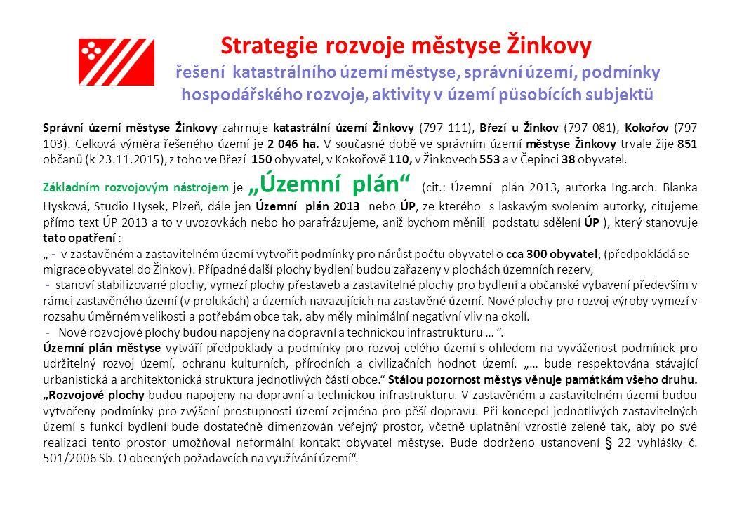Strategie rozvoje městyse Žinkovy urbanistická koncepce, vymezení zastavitelných ploch, ploch přestavby a systému sídelní zeleně V Jamkách výstavba 9-10 izolovaných RD+12 řadových RD Rozloha lokality2,565 ha Využití územíBI.1, PZ, PD.