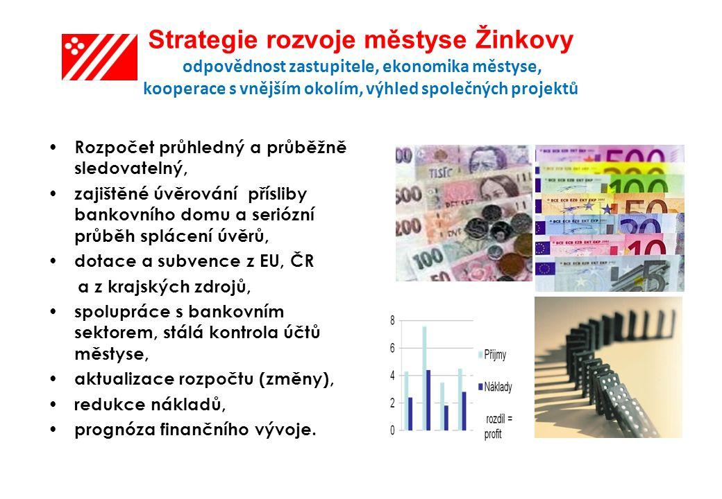 Strategie rozvoje městyse Žinkovy odpovědnost zastupitele, ekonomika městyse, kooperace s vnějším okolím, výhled společných projektů Rozpočet průhledný a průběžně sledovatelný, zajištěné úvěrování přísliby bankovního domu a seriózní průběh splácení úvěrů, dotace a subvence z EU, ČR a z krajských zdrojů, spolupráce s bankovním sektorem, stálá kontrola účtů městyse, aktualizace rozpočtu (změny), redukce nákladů, prognóza finančního vývoje.