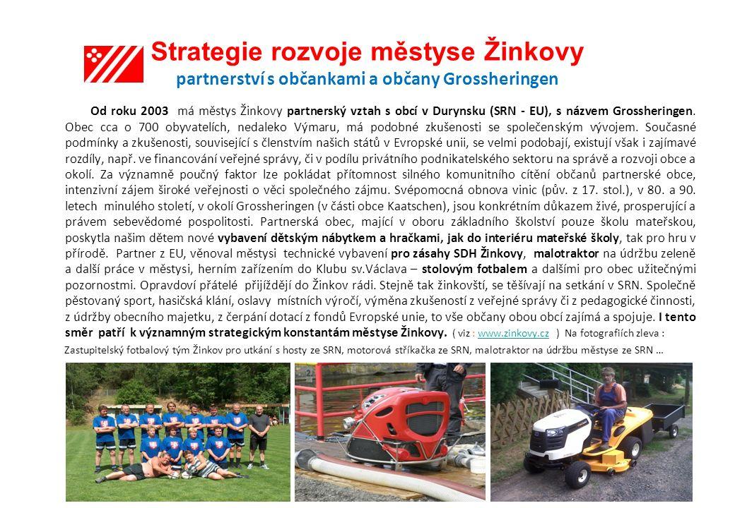 Strategie rozvoje městyse Žinkovy partnerství s občankami a občany Grossheringen Od roku 2003 má městys Žinkovy partnerský vztah s obcí v Durynsku (SRN - EU), s názvem Grossheringen.