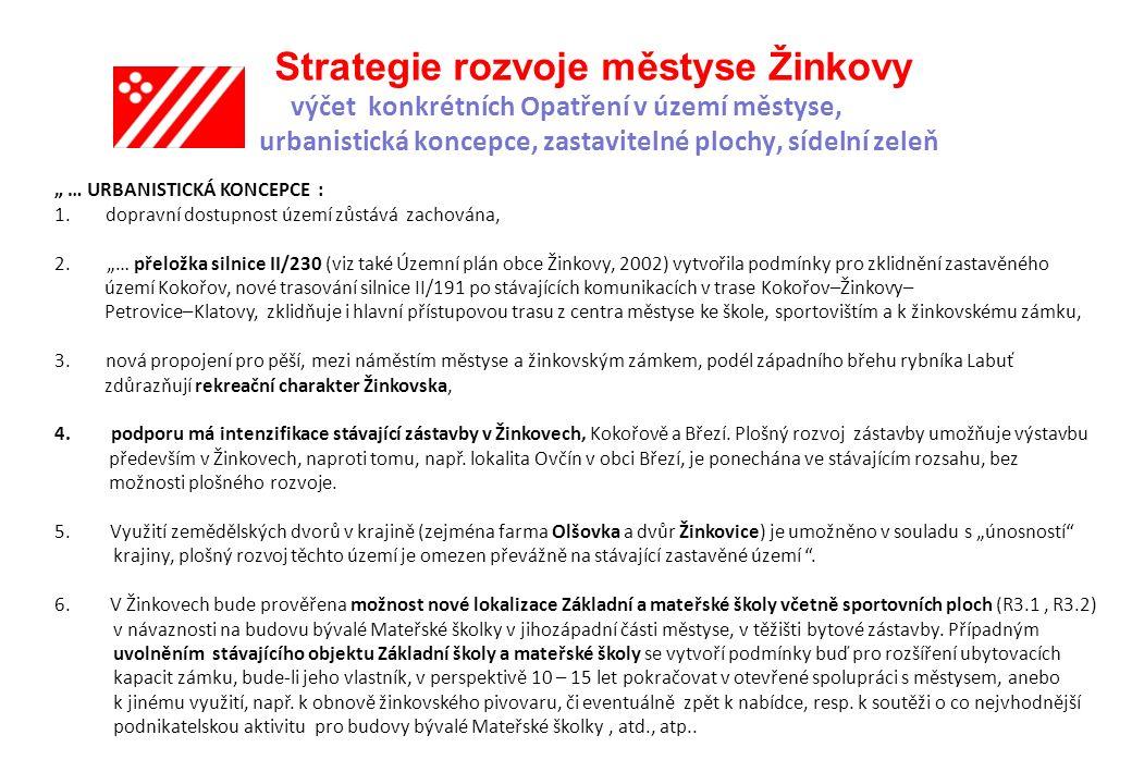 """Strategie rozvoje městyse Žinkovy výčet konkrétních Opatření v území městyse, urbanistická koncepce, zastavitelné plochy, sídelní zeleň """" … URBANISTICKÁ KONCEPCE : 1."""