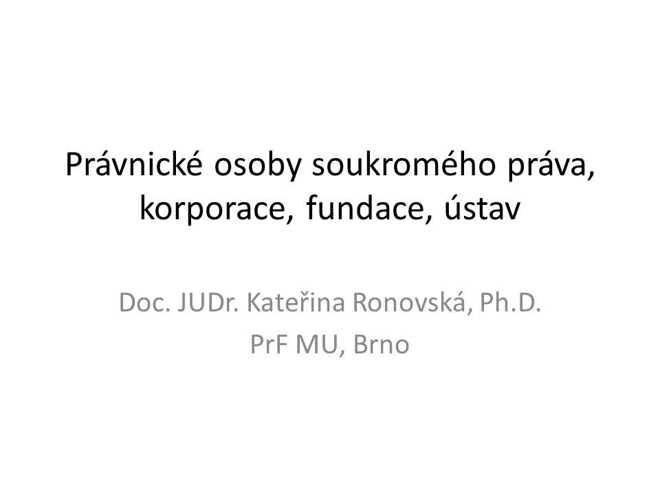 Právnické osoby soukromého práva, korporace, fundace, ústav Doc. JUDr. Kateřina Ronovská, Ph.D. PrF MU, Brno