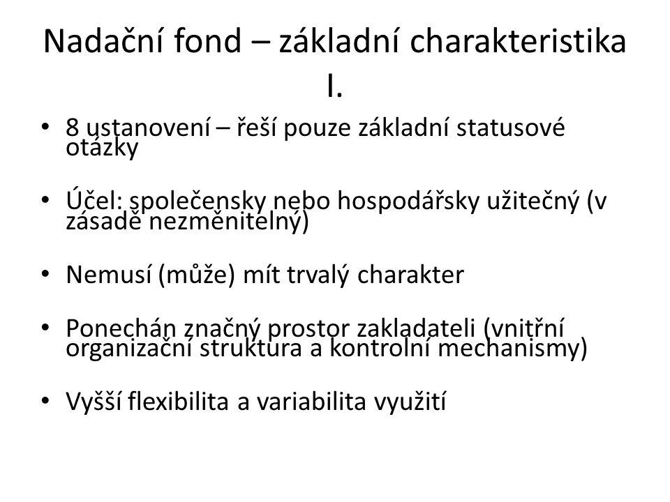 Nadační fond – základní charakteristika I.