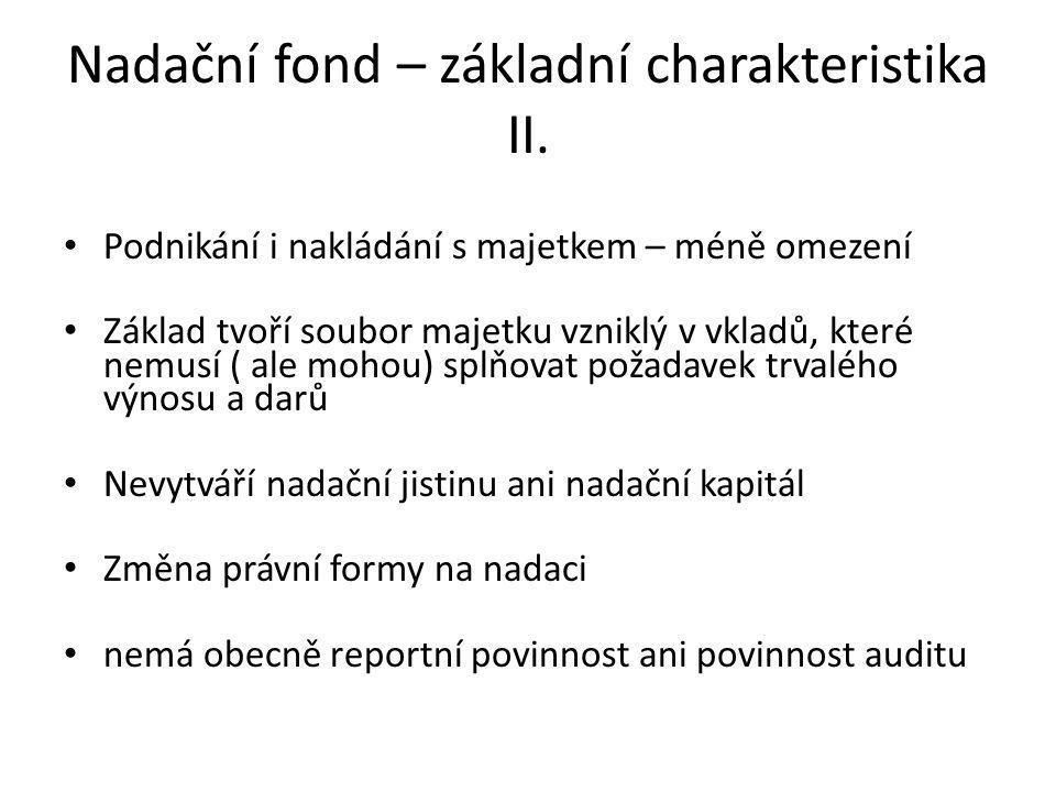 Nadační fond – základní charakteristika II.