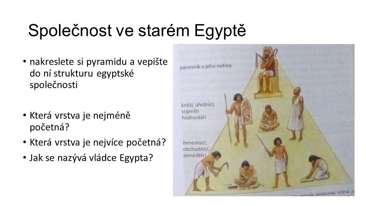 Společnost ve starém Egyptě nakreslete si pyramidu a vepište do ní strukturu egyptské společnosti Která vrstva je nejméně početná? Která vrstva je nej