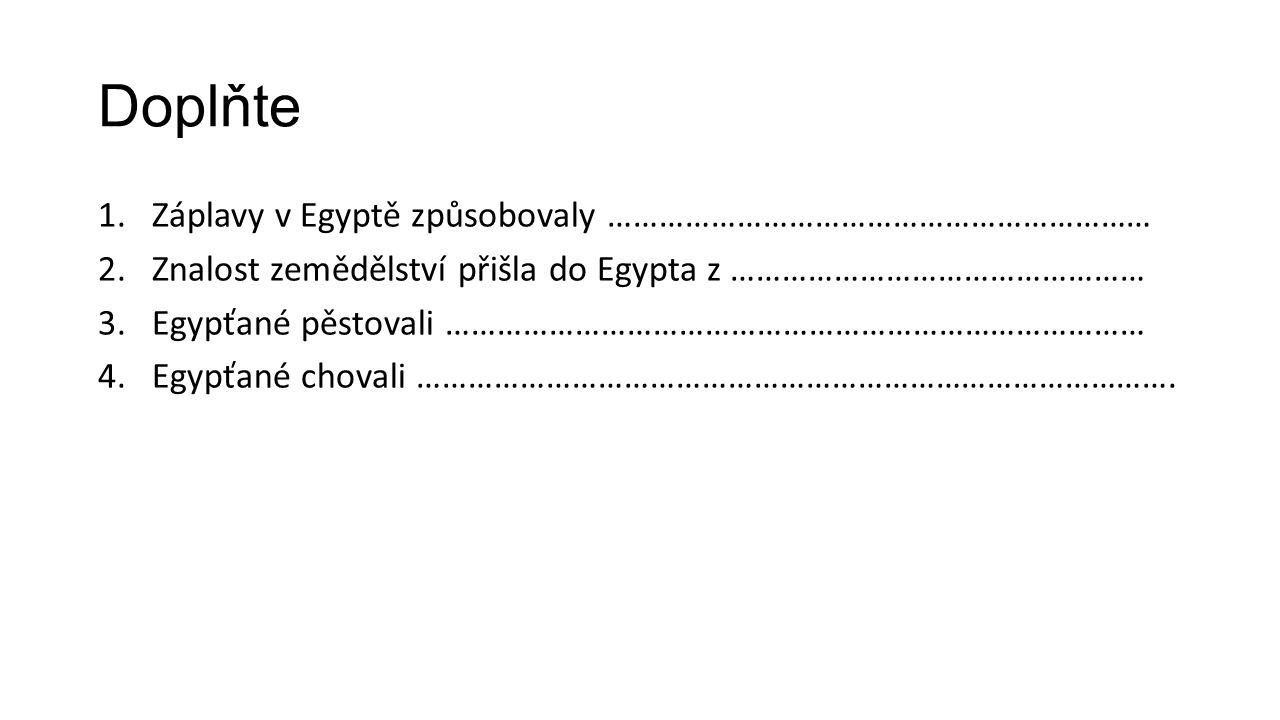 Doplňte 1.Záplavy v Egyptě způsobovaly ……………………………………………………… 2.Znalost zemědělství přišla do Egypta z ………………………………………… 3.Egypťané pěstovali ……………………………………………………………………… 4.Egypťané chovali …………………………………………………………………………….