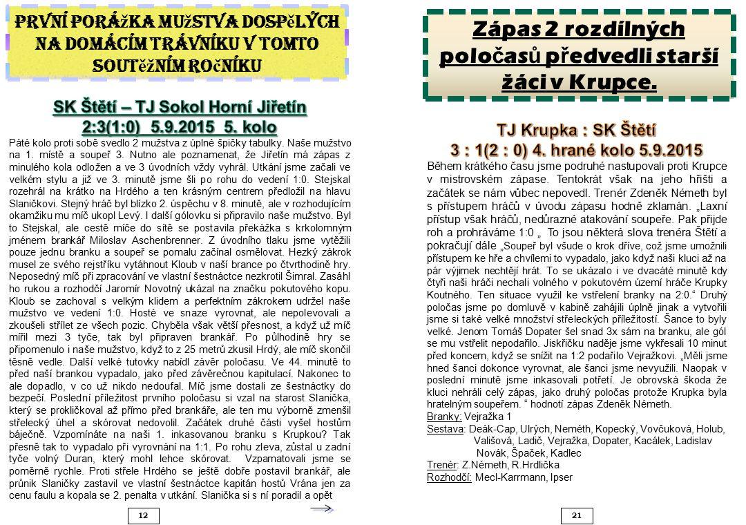 1221 Zápas 2 rozdílných polo č as ů p ř edvedli starší žáci v Krupce.