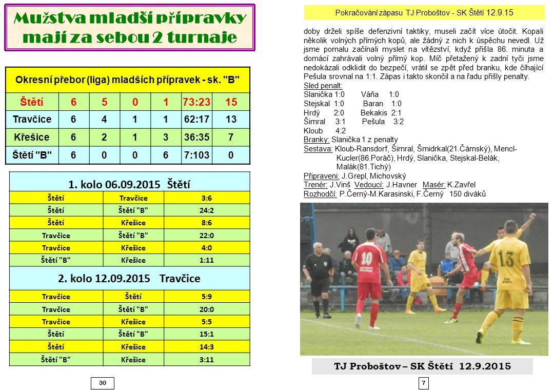 730 Mu ž stva mladší p ř ípravky mají za sebou 2 turnaje Okresní přebor (liga) mladších přípravek - sk.