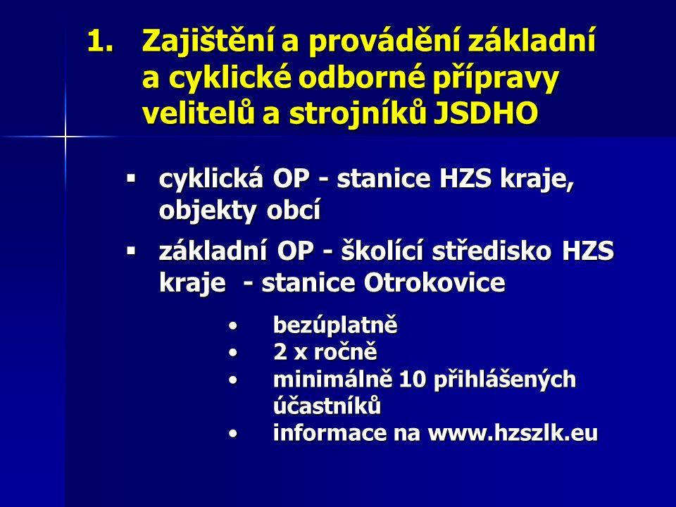 1.Zajištění a provádění základní a cyklické odborné přípravy velitelů a strojníků JSDHO  cyklická OP - stanice HZS kraje, objekty obcí  základní OP - školící středisko HZS kraje - stanice Otrokovice bezúplatněbezúplatně 2 x ročně2 x ročně minimálně 10 přihlášených účastníkůminimálně 10 přihlášených účastníků informace na www.hzszlk.euinformace na www.hzszlk.eu