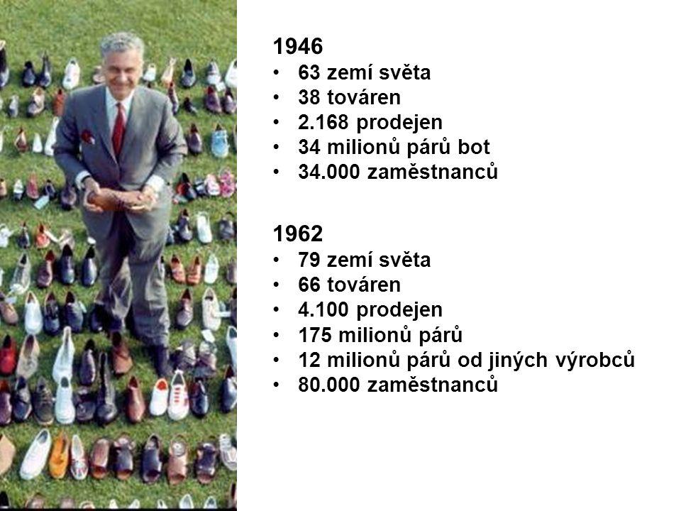 1946 63 zemí světa 38 továren 2.168 prodejen 34 milionů párů bot 34.000 zaměstnanců 1962 79 zemí světa 66 továren 4.100 prodejen 175 milionů párů 12 milionů párů od jiných výrobců 80.000 zaměstnanců