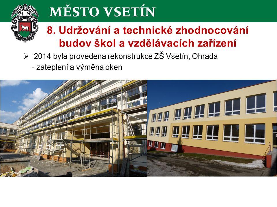 8. Udržování a technické zhodnocování budov škol a vzdělávacích zařízení  2014 byla provedena rekonstrukce ZŠ Vsetín, Ohrada - zateplení a výměna oke