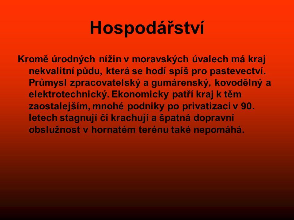 Hospodářství Kromě úrodných nížin v moravských úvalech má kraj nekvalitní půdu, která se hodí spíš pro pastevectví. Průmysl zpracovatelský a gumárensk