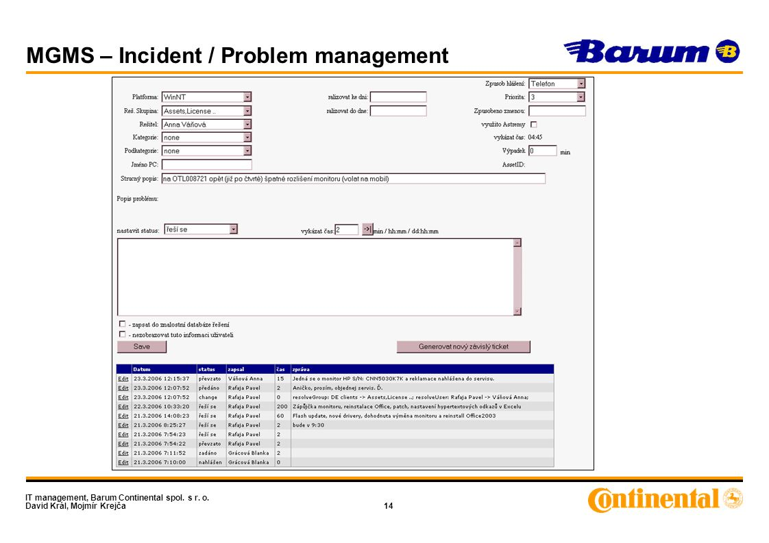 IT management, Barum Continental spol. s r. o. David Král, Mojmír Krejča14 MGMS – Incident / Problem management