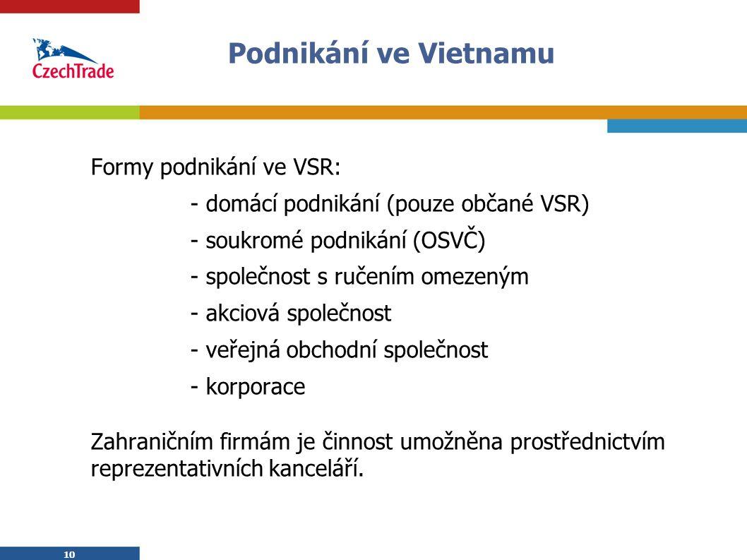 10 Podnikání ve Vietnamu Formy podnikání ve VSR: - domácí podnikání (pouze občané VSR) - soukromé podnikání (OSVČ) - společnost s ručením omezeným - akciová společnost - veřejná obchodní společnost - korporace Zahraničním firmám je činnost umožněna prostřednictvím reprezentativních kanceláří.