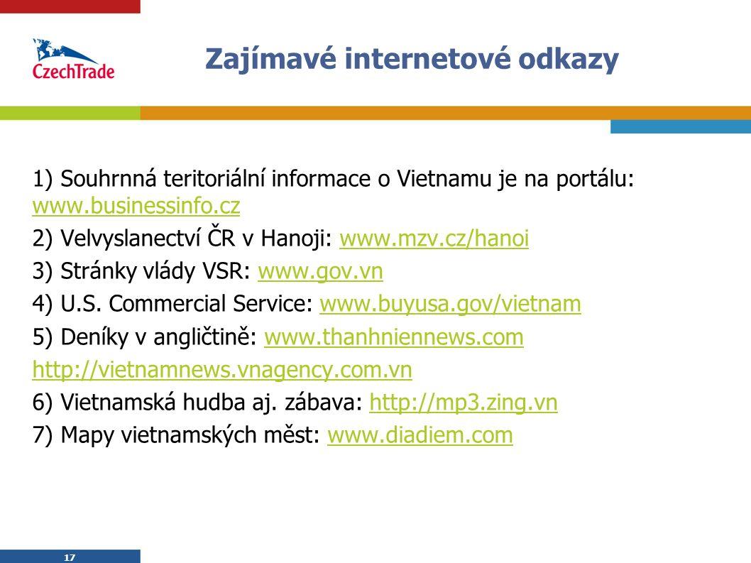 17 Zajímavé internetové odkazy 1) Souhrnná teritoriální informace o Vietnamu je na portálu: www.businessinfo.cz www.businessinfo.cz 2) Velvyslanectví