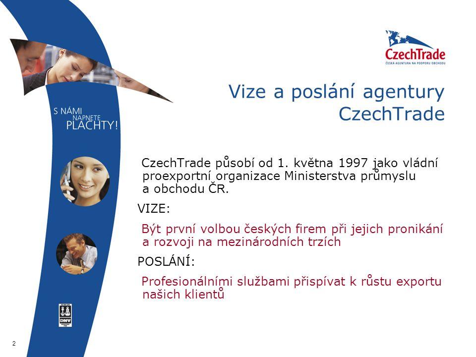 2 Vize a poslání agentury CzechTrade CzechTrade působí od 1.