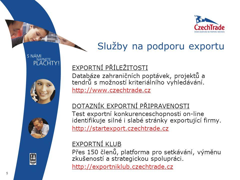 5 Služby na podporu exportu  EXPORTNÍ PŘÍLEŽITOSTI  Databáze zahraničních poptávek, projektů a tendrů s možností kriteriálního vyhledávání.