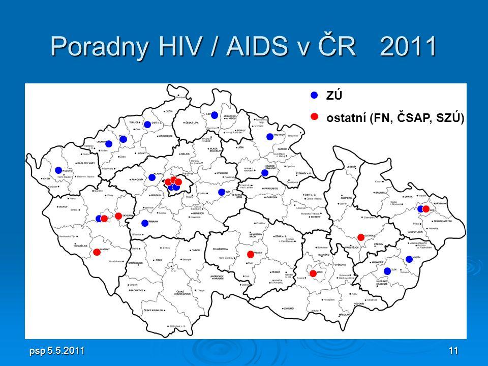 psp 5.5.201111 Poradny HIV / AIDS v ČR 2011 ZÚ ostatní (FN, ČSAP, SZÚ)