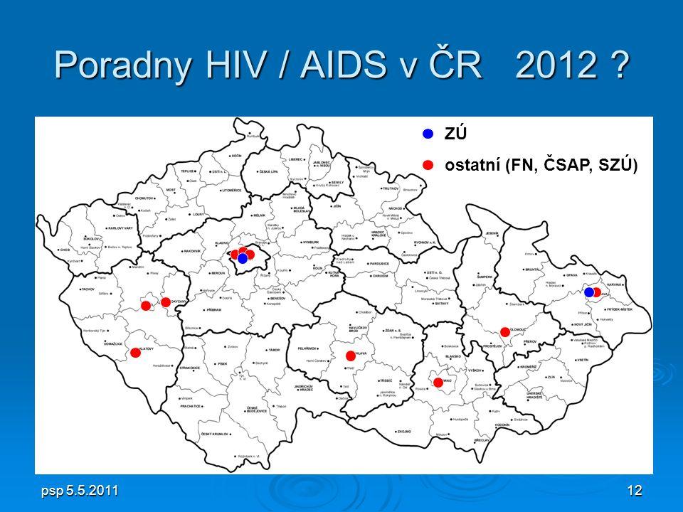 psp 5.5.201112 Poradny HIV / AIDS v ČR 2012 ZÚ ostatní (FN, ČSAP, SZÚ)