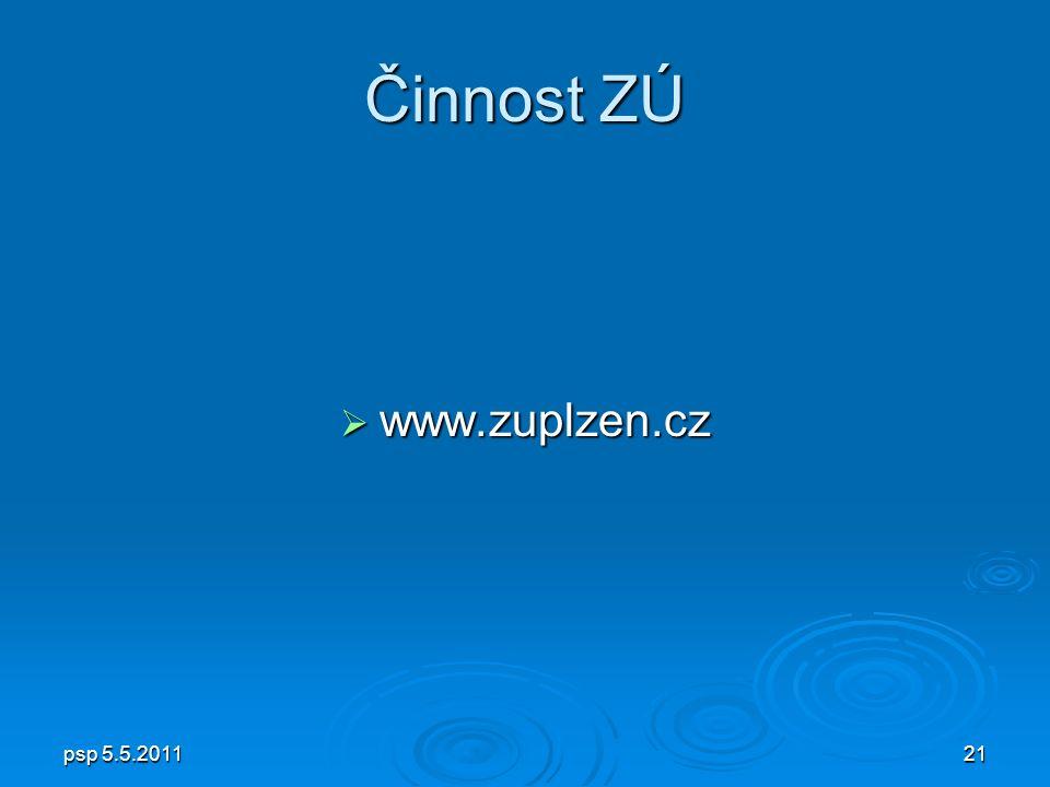 psp 5.5.201121 Činnost ZÚ  www.zuplzen.cz
