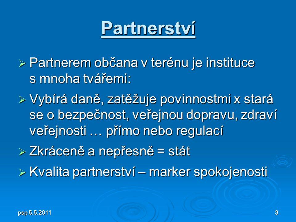 psp 5.5.20113 Partnerství  Partnerem občana v terénu je instituce s mnoha tvářemi:  Vybírá daně, zatěžuje povinnostmi x stará se o bezpečnost, veřejnou dopravu, zdraví veřejnosti … přímo nebo regulací  Zkráceně a nepřesně = stát  Kvalita partnerství – marker spokojenosti