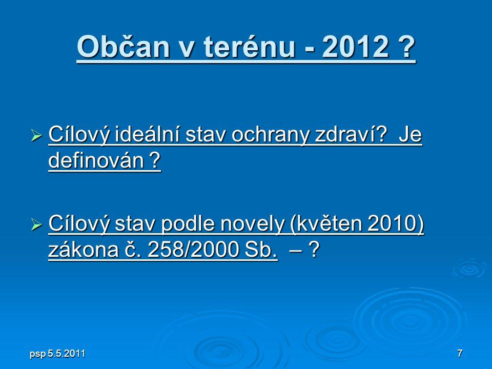 psp 5.5.20117 Občan v terénu - 2012 .  Cílový ideální stav ochrany zdraví.
