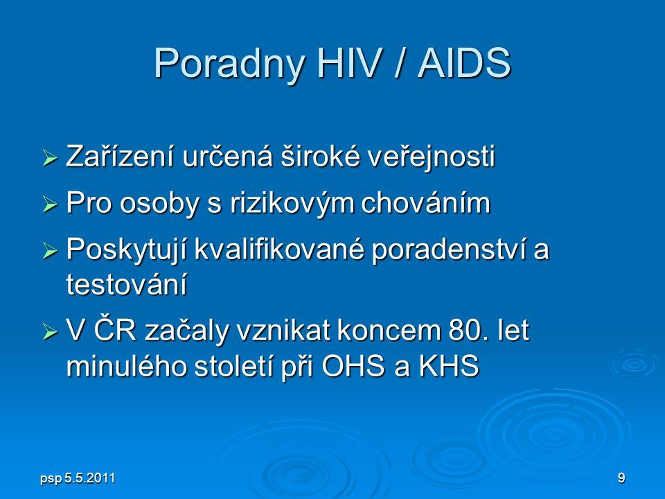 psp 5.5.20119 Poradny HIV / AIDS  Zařízení určená široké veřejnosti  Pro osoby s rizikovým chováním  Poskytují kvalifikované poradenství a testování  V ČR začaly vznikat koncem 80.