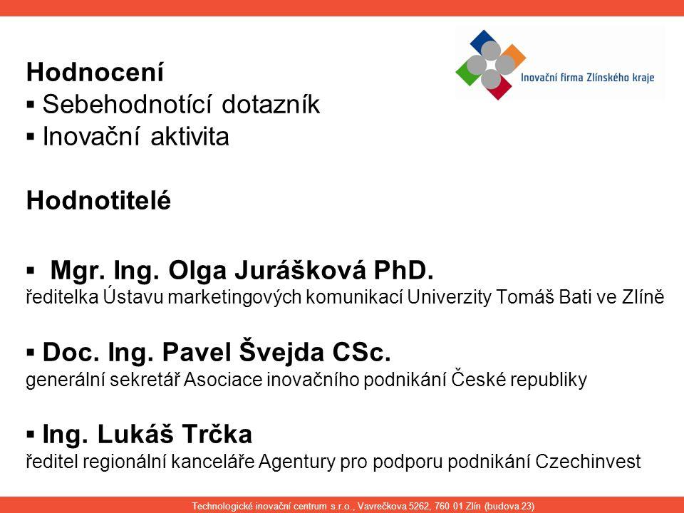 Hodnocení ▪ Sebehodnotící dotazník ▪ Inovační aktivita Hodnotitelé ▪ Mgr. Ing. Olga Jurášková PhD. ředitelka Ústavu marketingových komunikací Univerzi