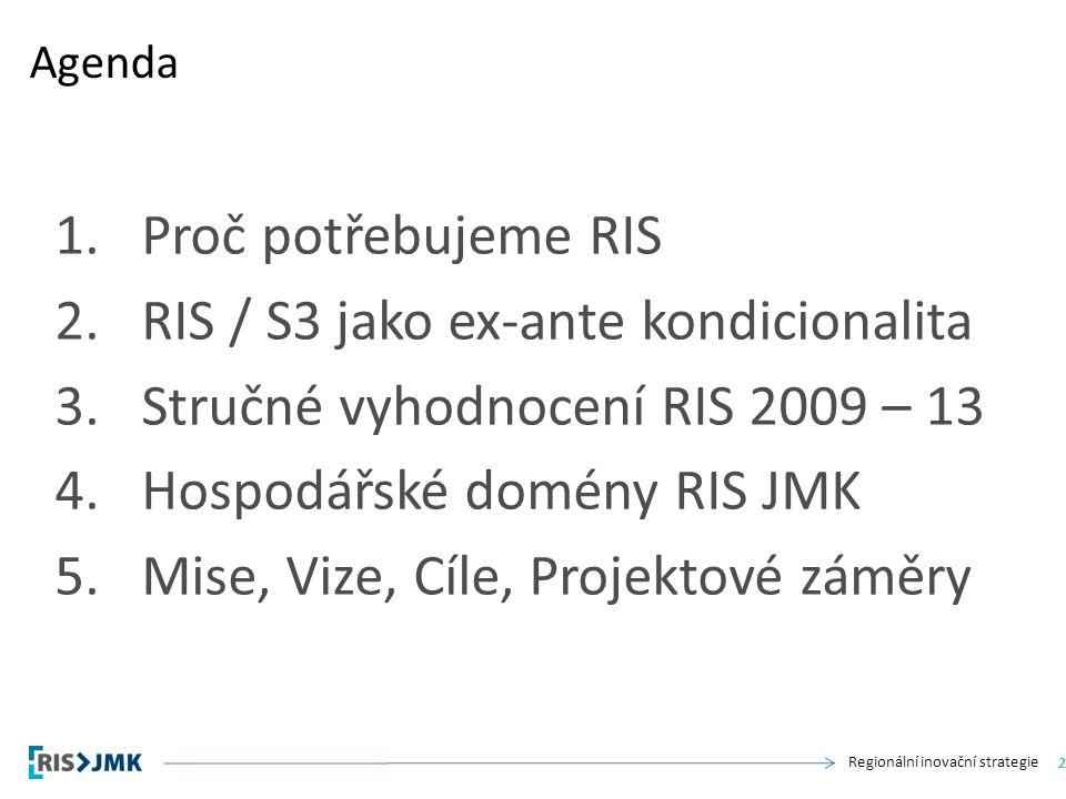 Regionální inovační strategie 1.Proč potřebujeme RIS 2.RIS / S3 jako ex-ante kondicionalita 3.Stručné vyhodnocení RIS 2009 – 13 4.Hospodářské domény RIS JMK 5.Mise, Vize, Cíle, Projektové záměry Agenda 3