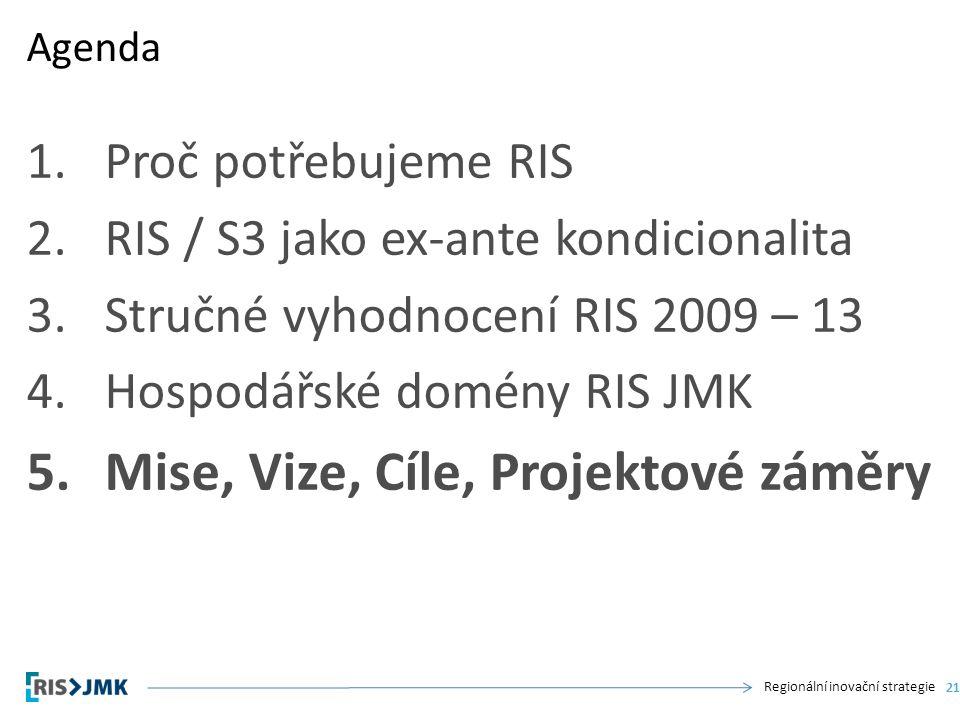 Regionální inovační strategie 1.Proč potřebujeme RIS 2.RIS / S3 jako ex-ante kondicionalita 3.Stručné vyhodnocení RIS 2009 – 13 4.Hospodářské domény RIS JMK 5.Mise, Vize, Cíle, Projektové záměry Agenda 21