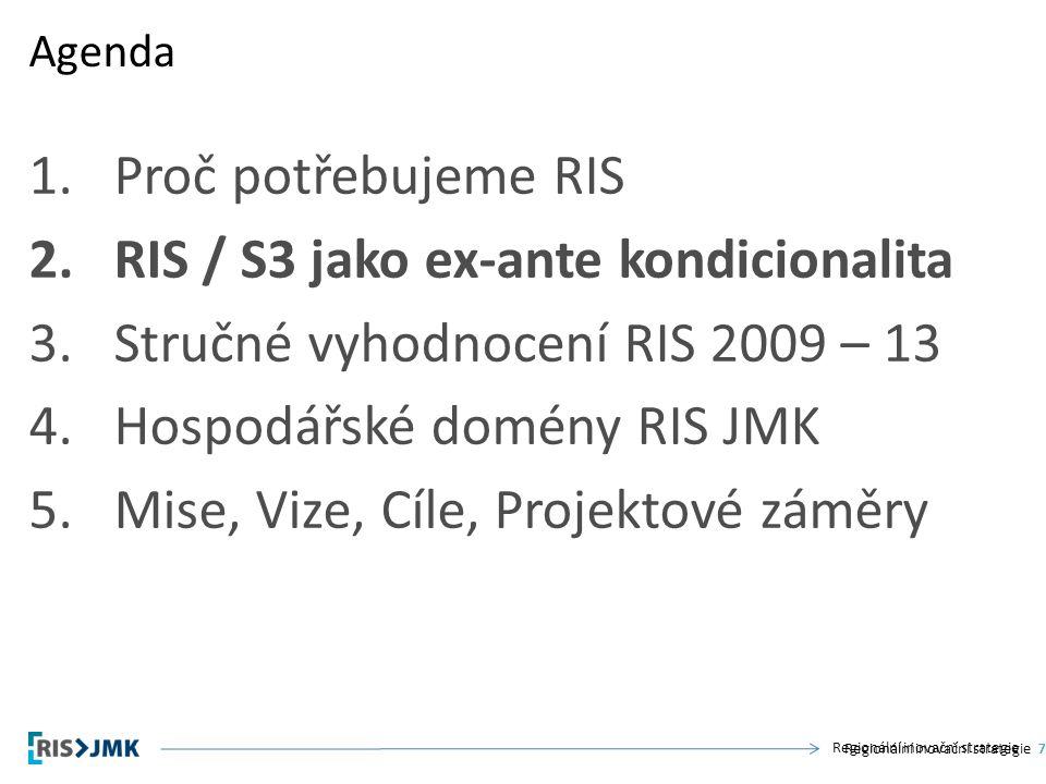 Regionální inovační strategie 1.Proč potřebujeme RIS 2.RIS / S3 jako ex-ante kondicionalita 3.Stručné vyhodnocení RIS 2009 – 13 4.Hospodářské domény RIS JMK 5.Mise, Vize, Cíle, Projektové záměry Agenda Regionální inovační strategie7