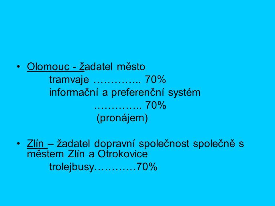 Olomouc - žadatel město tramvaje ………….. 70% informační a preferenční systém …………..