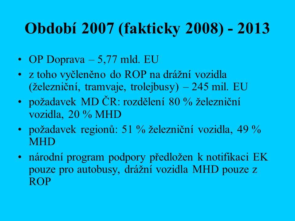 Období 2007 (fakticky 2008) - 2013 OP Doprava – 5,77 mld.