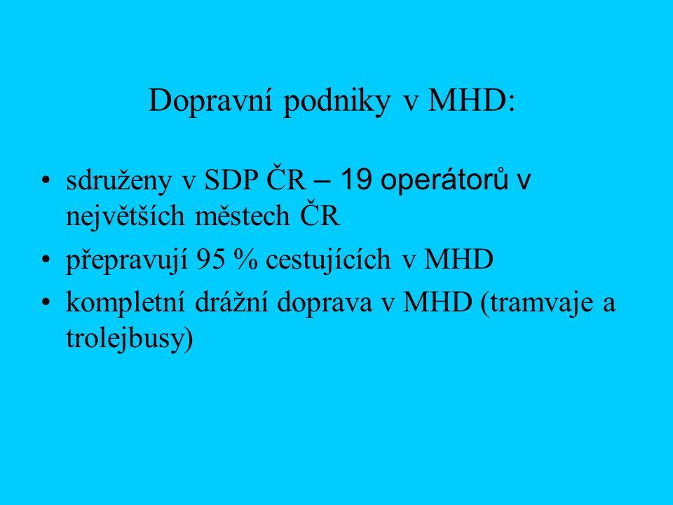 Dopravní podniky v MHD: sdruženy v SDP ČR – 19 operátorů v největších městech ČR přepravují 95 % cestujících v MHD kompletní drážní doprava v MHD (tramvaje a trolejbusy)