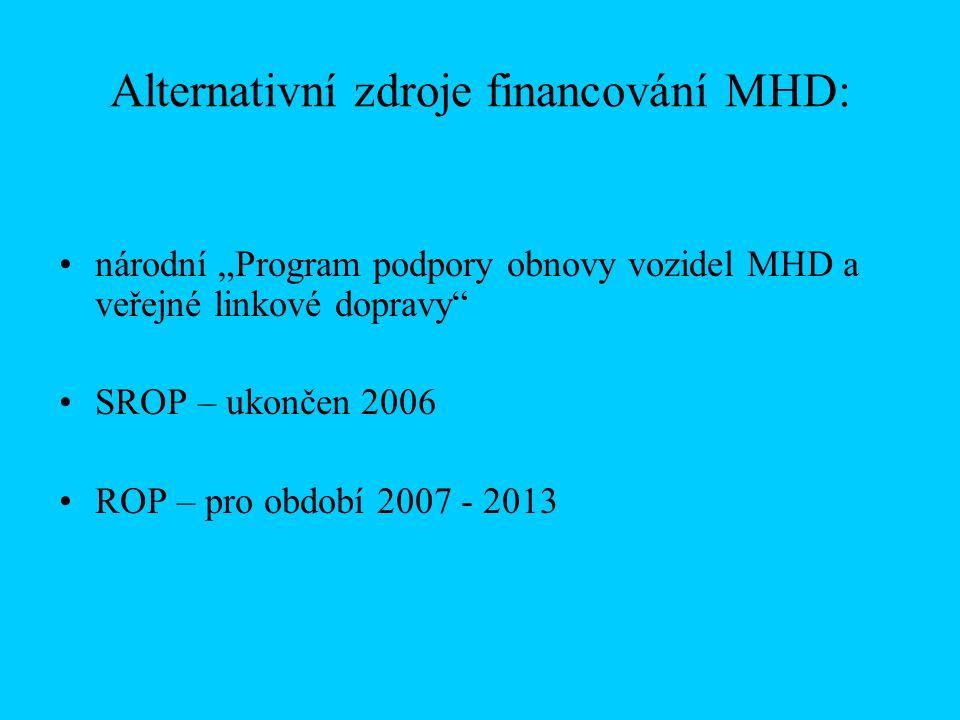 """Alternativní zdroje financování MHD: národní """"Program podpory obnovy vozidel MHD a veřejné linkové dopravy SROP – ukončen 2006 ROP – pro období 2007 - 2013"""