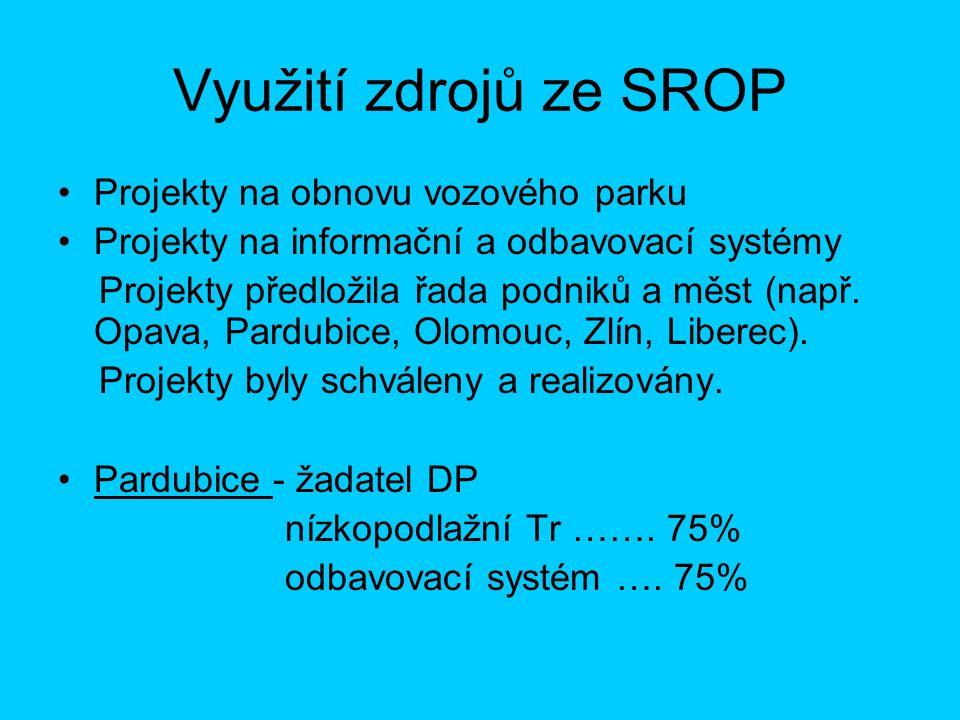 Využití zdrojů ze SROP Projekty na obnovu vozového parku Projekty na informační a odbavovací systémy Projekty předložila řada podniků a měst (např.