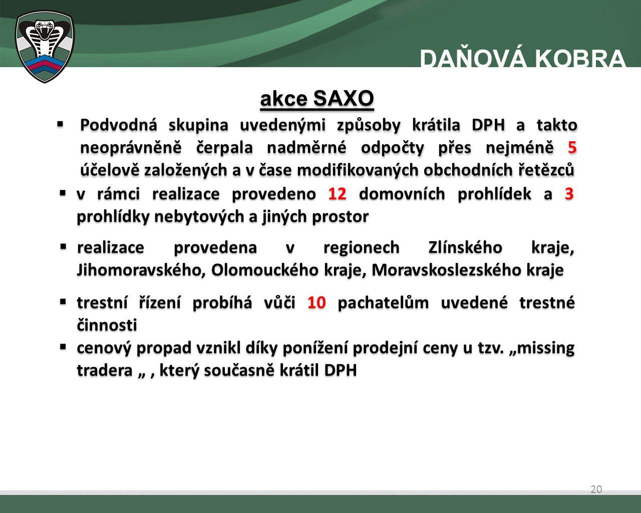  Podvodná skupina uvedenými způsoby krátila DPH a takto neoprávněně čerpala nadměrné odpočty přes nejméně 5 účelově založených a v čase modifikovaných obchodních řetězců  v rámci realizace provedeno 12 domovních prohlídek a 3 prohlídky nebytových a jiných prostor  realizace provedena v regionech Zlínského kraje, Jihomoravského, Olomouckého kraje, Moravskoslezského kraje  trestní řízení probíhá vůči 10 pachatelům uvedené trestné činnosti  cenový propad vznikl díky ponížení prodejní ceny u tzv.